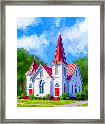 Classic American Church - Oglethorpe Lutheran Framed Print by Mark Tisdale