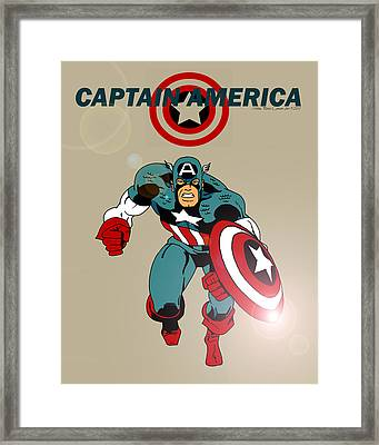 Classic Captain America Framed Print by Mista Perez Cartoon Art