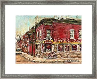 Classic Chinese Restaurant Montreal Memories Silver Dragon Canadian Paintings Carole Spandau         Framed Print by Carole Spandau