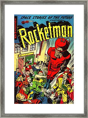 Classic Comic Book Cover Rocketman June Framed Print by Wingsdomain Art and Photography