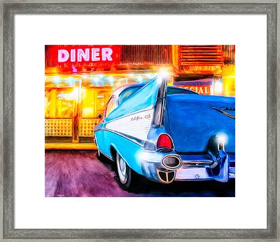 Classic Diner - 57 Chevy Framed Print by Mark Tisdale