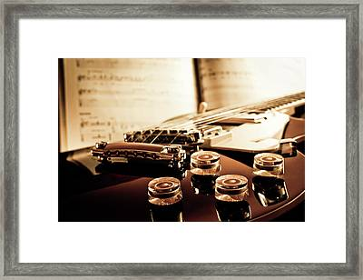 Classic Guitar Still Life With Notes Framed Print by A Driempixel Photo