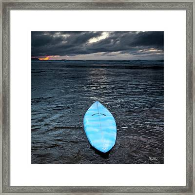 classic Hot Buttered surfboard at Rocky Point, Hawaii Framed Print by Sean Davey