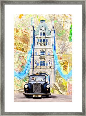 Classic London Black Cab Framed Print by Mark E Tisdale