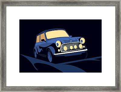 Classic Mini Cooper In Blue Framed Print by Michael Tompsett