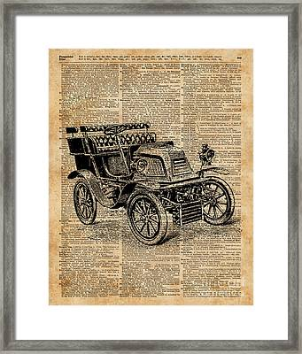 Classic Old Car,vintage Vehicle,antique Machine Dictionary Art Framed Print by Jacob Kuch