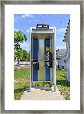 Classic Pay Phone Booth Framed Print by Edward Fielding