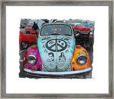 Classic Vw Beetle Love Bug Framed Print by Rebecca Korpita