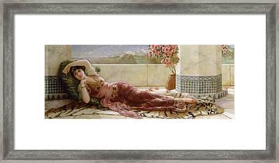 Classical Reclining Girl  Framed Print by Emile Eismann Semenowski