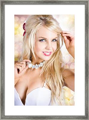 Classy Woman Wearing Diamond Jewelry Chocker Framed Print by Jorgo Photography - Wall Art Gallery