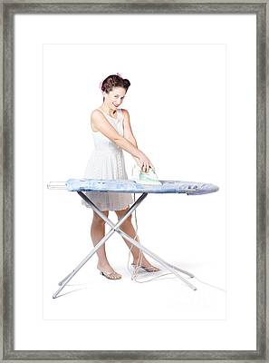 Cleaning Lady Steam Pressing Ironing Board Cover Framed Print by Jorgo Photography - Wall Art Gallery