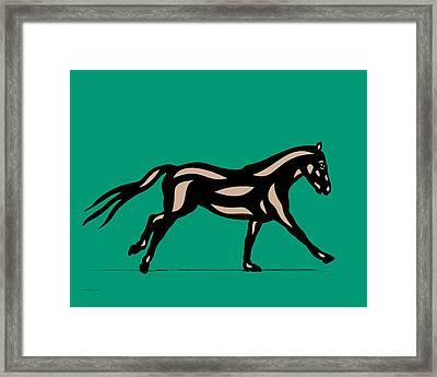 Clementine - Pop Art Horse - Black, Hazelnut, Emerald Framed Print by Manuel Sueess