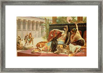 Cleopatra Testing Poisons On Those Condemned To Death Framed Print by Alexandre Cabanel