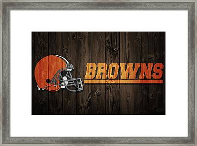 Cleveland Browns Barn Door Framed Print by Dan Sproul