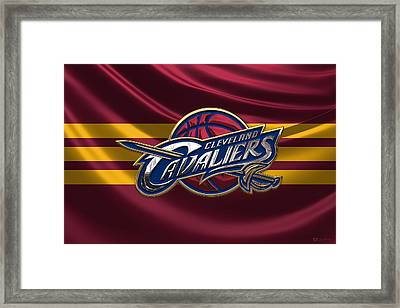 Cleveland Cavaliers - 3 D Badge Over Flag Framed Print by Serge Averbukh