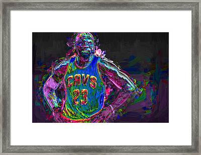 Cleveland Cavaliers King Lebron James Painted Mix 2 Framed Print by David Haskett