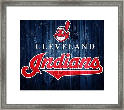 Cleveland Indians Barn Door Framed Print by Dan Sproul