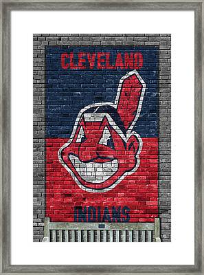 Cleveland Indians Brick Wall Framed Print by Joe Hamilton
