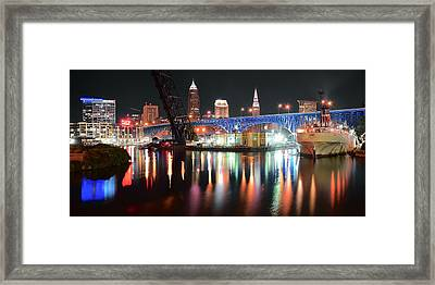 Cleveland Ohio In Black And Color Framed Print by Frozen in Time Fine Art Photography