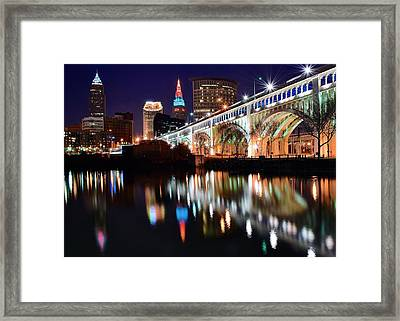 Cleveland Ohio Skyline Framed Print by Frozen in Time Fine Art Photography
