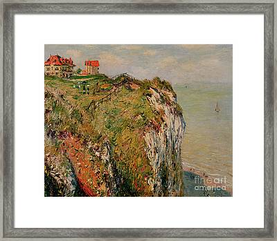 Cliff At Dieppe Framed Print by Claude Monet