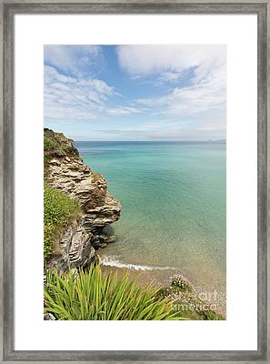 Cliff Edge At St Agnes Framed Print by Terri Waters