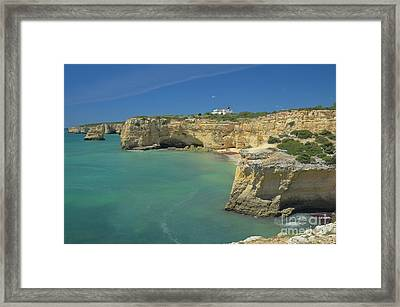 Cliffs And Sea Scenery In Lagoa Framed Print by Angelo DeVal