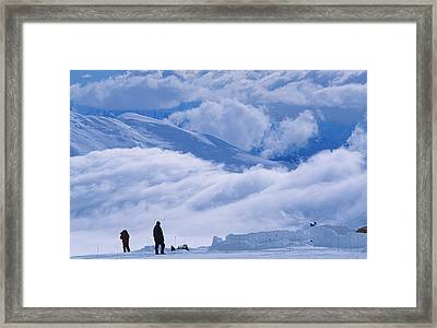 Climber Take In The View At 11,000 Foot Framed Print by Bill Hatcher