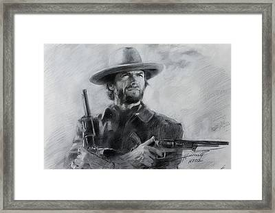 Clint Eastwood Framed Print by Viola El
