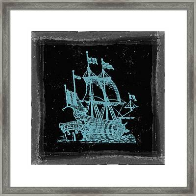 Blue Clipper Ship Starry Night Framed Print by Brandi Fitzgerald