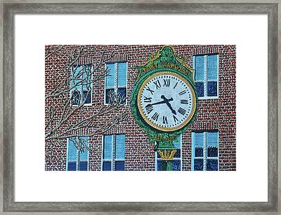 Clock At Port Warwick Framed Print by Micah Mullen