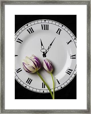 Clock Plate With Tulips Framed Print by Garry Gay