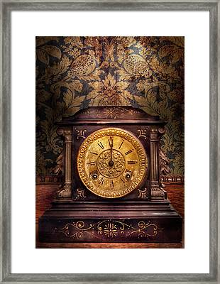 Clockmaker - Wolf Clock  Framed Print by Mike Savad