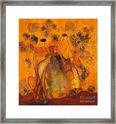 Close Friends An Abstract Still Life In Acrylic On Canvas Framed Print by Phil Albone