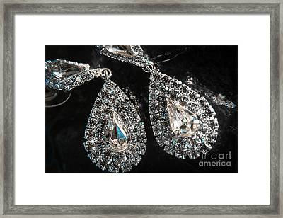 Close-up Of Beautiful Brilliant Earrings  Framed Print by Jorgo Photography - Wall Art Gallery