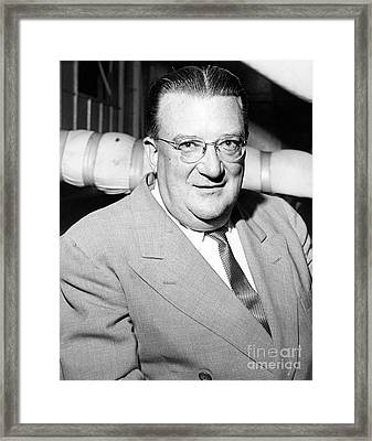 Close Up Of Form Dodgers Manager Walter O'malley. 1955 Framed Print by Barney Stein