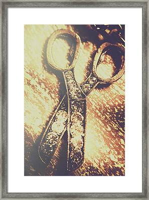 Close Up Of Jewellery Scissors Of Bronze Framed Print by Jorgo Photography - Wall Art Gallery