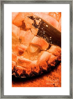 Close Up Of Knife Cutting Into Pie Framed Print by Jorgo Photography - Wall Art Gallery