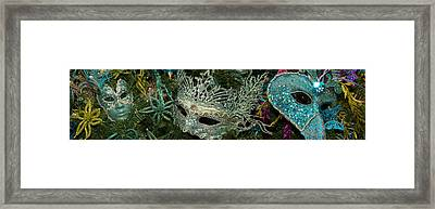 Close-up Of Venetian Masks Framed Print by Panoramic Images