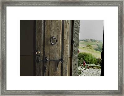 Close View Of A Wooden Door On A Villa Framed Print by Todd Gipstein