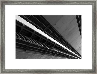 Closeup Detail Of A Metal Road Bridge Framed Print by John Williams
