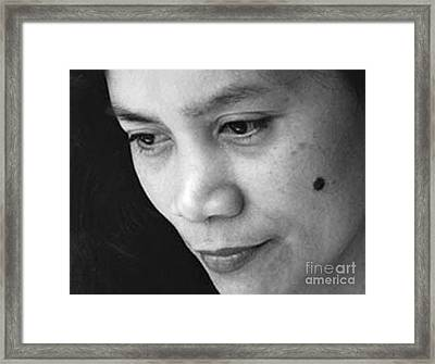 Closeup Of A Filipina Beauty With A Mole On Her Cheek Framed Print by Jim Fitzpatrick