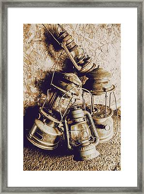 Closeup Of Antique Oil Lamps Framed Print by Jorgo Photography - Wall Art Gallery