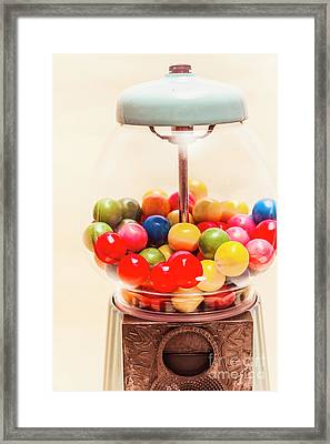 Closeup Of Colorful Gumballs In Candy Dispenser Framed Print by Jorgo Photography - Wall Art Gallery