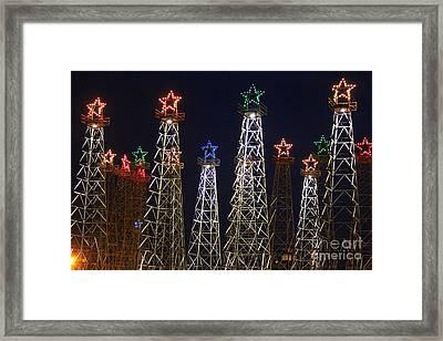 Closeup Of Kilgore Texas Derricks Framed Print by Kathy  White
