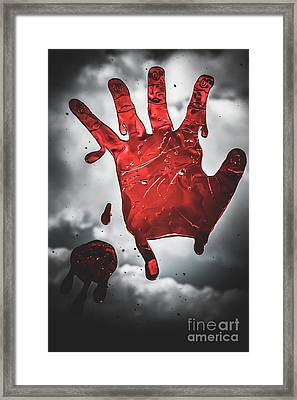 Closeup Of Scary Bloody Hand Print On Glass Framed Print by Jorgo Photography - Wall Art Gallery