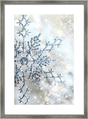 Closeup Of Snowflake Framed Print by Sandra Cunningham
