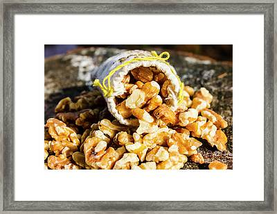 Closeup Of Walnuts Spilling From Small Bag Framed Print by Jorgo Photography - Wall Art Gallery