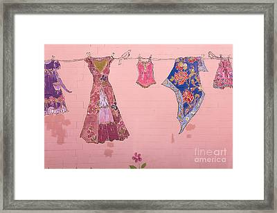 Clothes Line Mural Burlington Vermont Framed Print by Edward Fielding