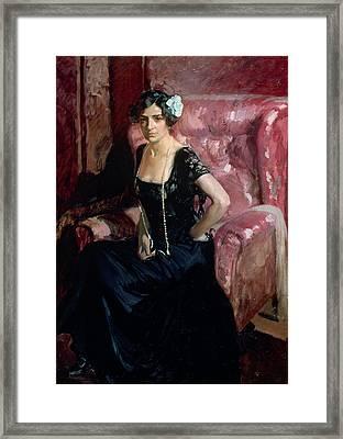 Clotilde In An Evening Dress Framed Print by Joaquin Sorolla y Bastida